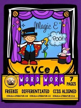 CVCe Long A Word Work FREEBIE Packet