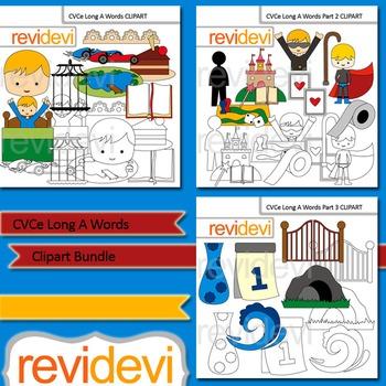 CVCe Long A words clip art bundle (3 packs)