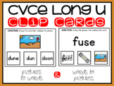 CVCE Words and Pictures Clip Cards Long U Magic E Activity