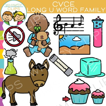 CVCe Long U Word Family Clip Art - Volume Two