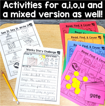 CVCe Long Vowel & CVC Word: Read, Find, Cover, & Write