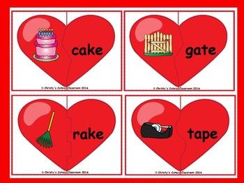 CVCe Long Vowel Heart Puzzles