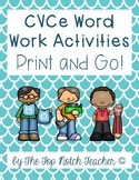CVCe Long Vowel Word Work Print & Go Worksheets NO PREP