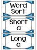 Long and Short A Word Work and Sorts