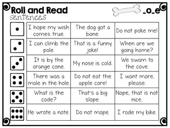 CVCe- Long o Phonics Passage and Word Work