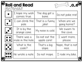 CVCe- Long o Phonics Passage and Word Work