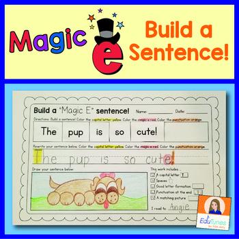 CVCe   Magic e Sentence Building Worksheets