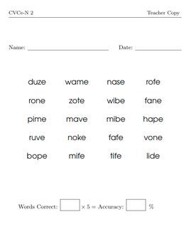 CVCe (Nonsense) Word Reading Assessment