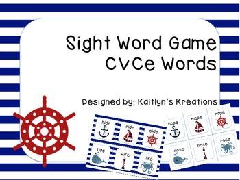 CVCe Sight Word Game