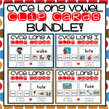 CVCe Silent E Clip Cards for Literacy Centers Phonics Word Work BUNDLE