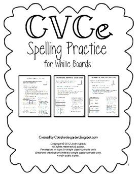 CVCe Spelling Practice for Whiteboards