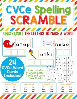 CVCe Spelling Scramble - Unscramble the letters to make CVCe words!