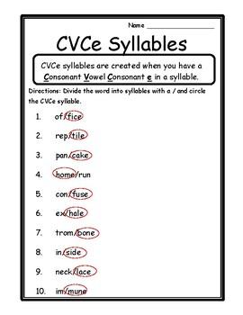 Language Arts Activity CVCe Syllables Worksheet CVCe Syllable Worksheets