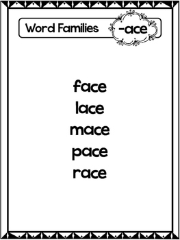 24 CVCe Word Families Black and White Posters.