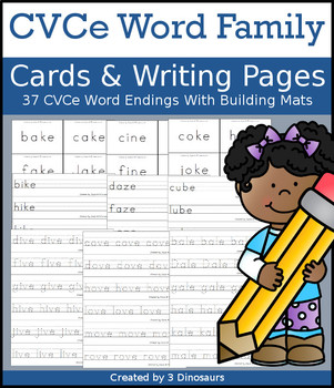 CVCe Word Family Cards and Writing