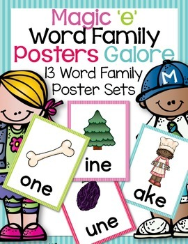 CVCe Word Family Posters-13 Different Word Family Posters