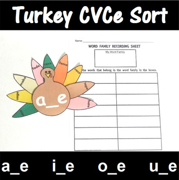 CVCe Word Family Sorting with Turkeys
