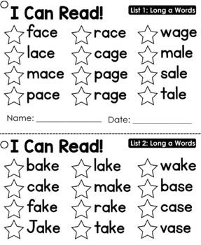CVCe Word List Cards