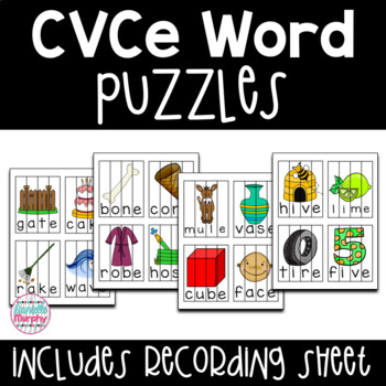 CVCe Word Puzzles with Recording Sheet