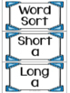 Long and Short Vowel Word Work and Sort Bundle