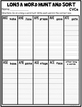 CVCe Word Sort Recording Sheets {To be used with Phonics Fast Reads: CVCe}