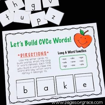 CVCe Word Work Center Activities