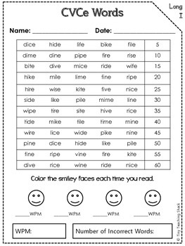 CVCe Words Fluency Practice and Assessment (long vowels)