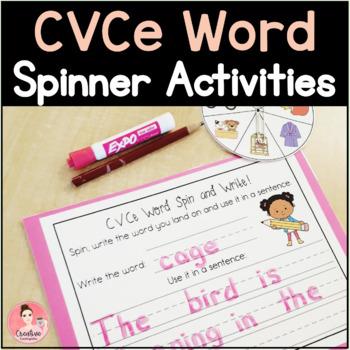 CVCe Words Spinner Activities for Kindergarten Literacy Centers