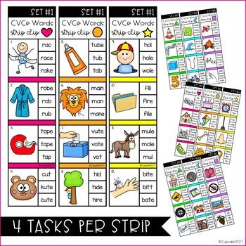 CVCe Words Strip Clips (Clip Cards & Recording Sheets)