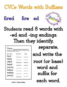 CVCe Words With Suffixes ed and ing; Students write root (