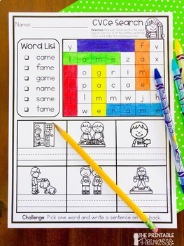CVCe Worksheets | CVCe Word Searches