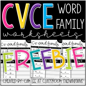 CVCe and Word Families Phonics Worksheets FREEBIE!!