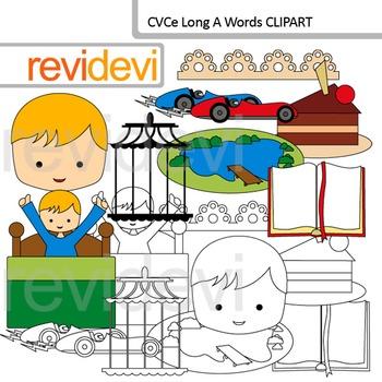 CVCe clip art long A words