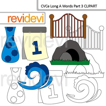 CVCe long A clip art words Part 3