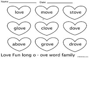 CVCe long o ove word family center or group activity