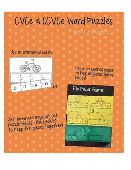 Phonics Practice Puzzles Long Vowels CVCe puzzles