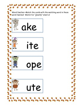 CVCe silent e word families and more Halloween monkeys
