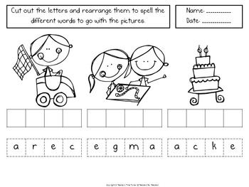 CVCe words - cut and paste spell and picture match