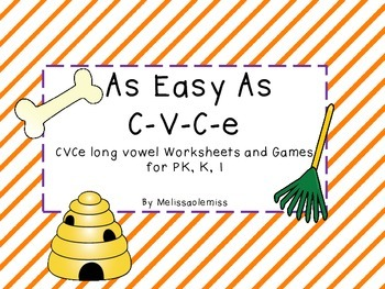 CVCe worksheets and game-As Easy As C-V-C-e