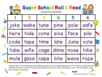 CVCe/CVVC Long Vowel Back to School Roll & Read
