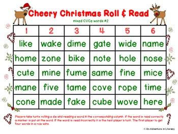 CVCe/CVVC Long Vowel Cheery Christmas Roll & Read