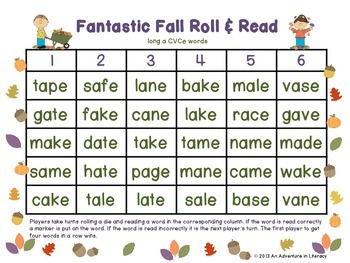 CVCe/CVVC Long Vowel Fantastic Fall Roll & Read