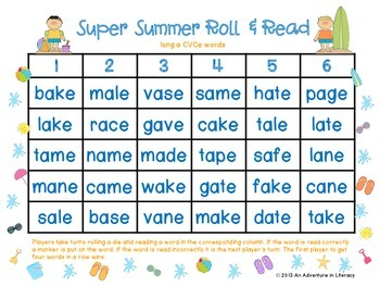 CVCe/CVVC Long Vowel Super Summer Roll & Read