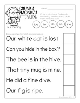 CVE Activities - Chunky Monkey Slide - Chunking Words Activities