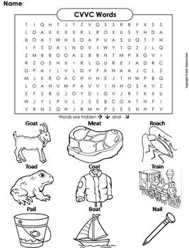 CVVC Words Worksheet/ Word Search