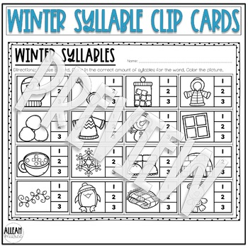 Winter Syllable Practice Clip Card Activity