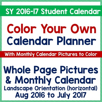 CYO Calendar Planner for Students - SY 2016-17 PK-2, SPED