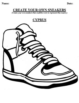 CYPRUS Design your own sneaker and writing worksheet