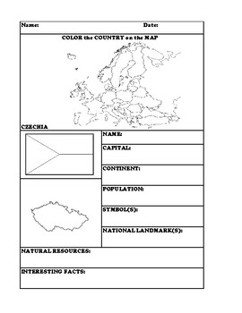 CZECHIA COUNTRY RESEARCH WORKSHEET