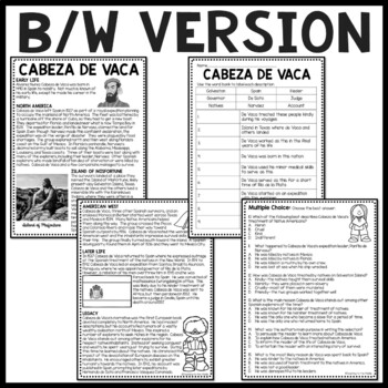 Cabeza de Vaca Biography Reading Comprehension Worksheet, Exploration
